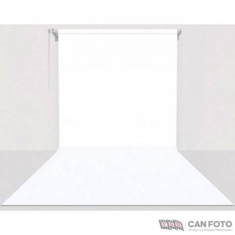 Gdx Sonsuz Beyaz Fon Perde (Kumaş) 2.70x5.80 Metre, Boru, Makara, Zincir