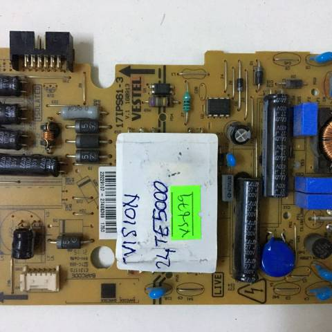 TVISION 24TE5000 LED TV BESLEME KARTI / POWER BOARD FOR VESTEL TV, BOARD NO.S  17IPS61-3, V.1 160913, 23229107, 27406369