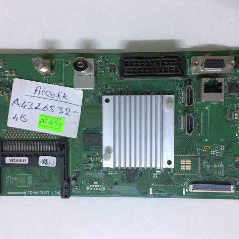 ARÇELİK A43L 6532 LED TV ANAKARTI / MAINBOARD FOR ARCELIK & BEKO TV. BOARD NO.S VKT190R-6, GRUNDIG, V-0, PDPFZZ