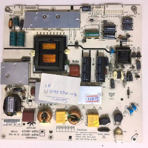 SUNNY SN042DLD12AT022 LED TV BESLEME KARTI / POWER SUPPLY BOARD FOR SUNNY-AXEN TV BOARD NO.S AY118P-4SF01, 3BS0025414, REV:1.1-053, AY118P, AY118P-4SF02