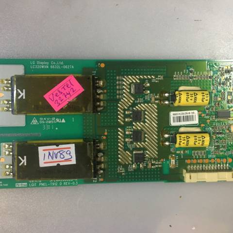 VESTEL 32742 LCD TV ARKA AYDINLATMA İNVERTÖR KARTI / BACKLIGHT INVERTER BOARD FOR VESTEL TV. BOARD NO.S 6632L-0627A, 3PEGA20002B-R, LGIT PNEL-T912 D, REV-0.3, LC320WXN