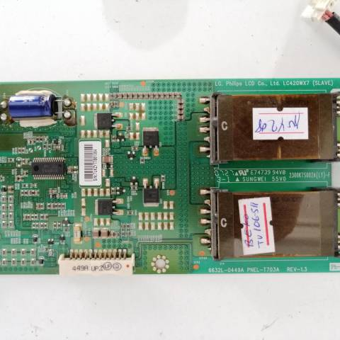 BEKO F 106-511 LCD TV ARKA AYDINLATMA İNVERTÖR KARTI (BACKLIGHT INVERTER SLAVE) / BACKLIGHT INVERTER BOARD FOR BEKO - ARCELIK TV. BOARD NO.S 6632L-0449A, 2300KTS002A, PNEL-T703A, REV-1.3, LC420WX7 (SLAVE)