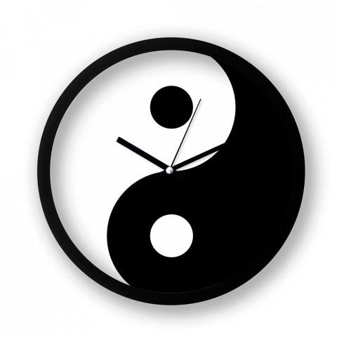 Yin Yang resimli duvar saati. Presstish tasarım baskılı duvar saati. Sessiz akar makineli siyah duvar saati. En güzel duvar saatleri. Hediyelik şık dekoratif duvar saati.