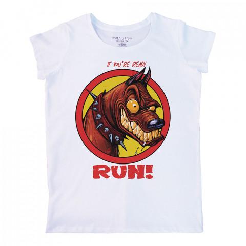 Ready To Run baskılı tasarım tişört. %100 pamuklu baskılı bayan tişört. Presstish tasarım baskılı tişört. Hediyelik kadın tişört. Tişört baskı. Baskılı tasarım tshirt.