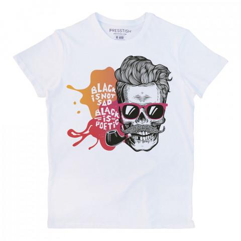 Black is Not Sad baskılı tasarım tişört. %100 pamuklu baskılı tişört. Presstish organik erkek tasarım baskılı tişört çeşitleri. Hediyelik tasarım tshirt. Tişört baskı.