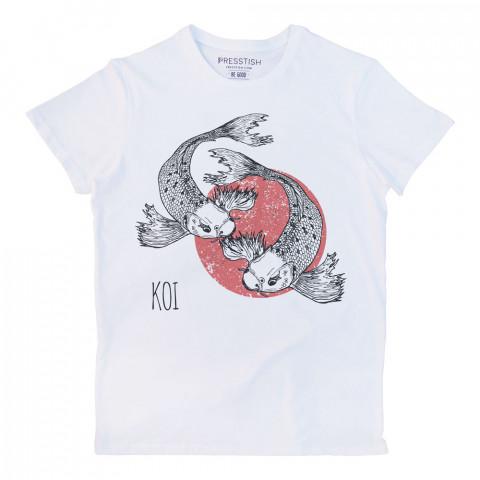 Koi Fishes baskılı tasarım tişört. %100 pamuklu baskılı tişört. Presstish organik erkek tasarım baskılı tişört çeşitleri. Hediyelik tasarım tshirt. Tişört baskı.