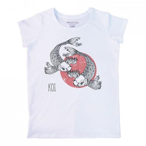 Koi Fishes baskılı tasarım tişört. %100 pamuklu baskılı bayan tişört. Presstish tasarım baskılı tişört. Hediyelik kadın tişört. Tişört baskı. Baskılı tasarım tshirt.
