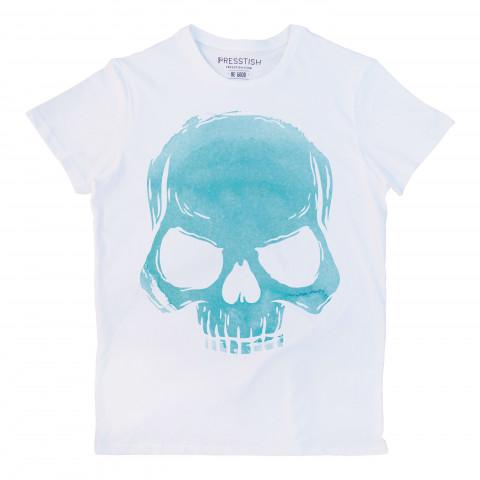 Skull Cloud (Turquoise) baskılı tasarım tişört. %100 pamuklu baskılı tişört. Presstish erkek tasarım baskılı tişört çeşitleri. Hediyelik tasarım tshirt. Tişört baskı.