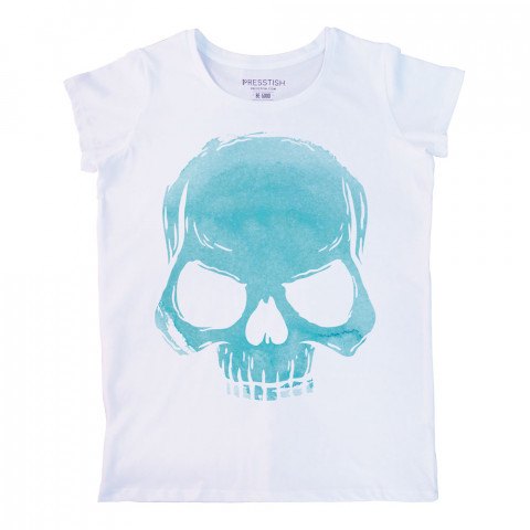 Skull Cloud (Turquoise) baskılı tasarım tişört. %100 pamuklu baskılı bayan tişört. Presstish tasarım baskılı tişört çeşitleri. Hediyelik kadın tişört. Tişört baskı.