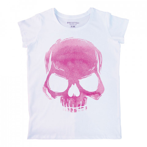 Skull Cloud (Pink) baskılı tasarım tişört. %100 pamuklu baskılı bayan tişört. Presstish tasarım baskılı tişört çeşitleri. Hediyelik kadın tişört. Tişört baskı.