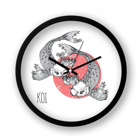Koi Fishes resimli duvar saati. Presstish tasarım baskılı duvar saati. Siyah çerçeveli dekoratif duvar saati. En güzel duvar saatleri. Hediyelik şık duvar saati.