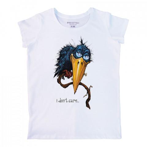 I Don't Care baskılı tasarım tişört. %100 pamuklu baskılı bayan tişört. Presstish tasarım baskılı tişört çeşitleri. Hediyelik kadın tişört. Tişört baskı. Baskılı tshirt.