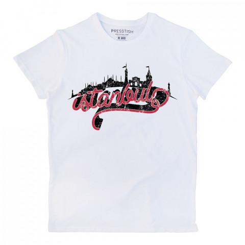 İstanbul Skyline baskılı tasarım tişört. %100 pamuklu baskılı tişört. Presstish organik erkek tasarım baskılı tişört çeşitleri. Hediyelik tasarım tshirt. Tişört baskı.