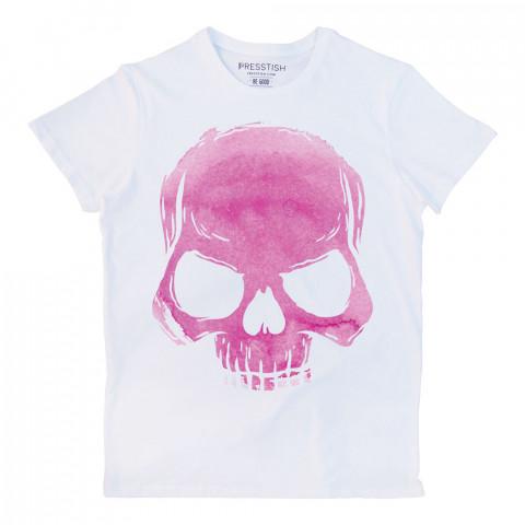 Skull Cloud (Pink) baskılı tasarım tişört. %100 pamuklu baskılı tişört. Presstish organik erkek tasarım baskılı tişört çeşitleri. Hediyelik tasarım tshirt. Tişört baskı.