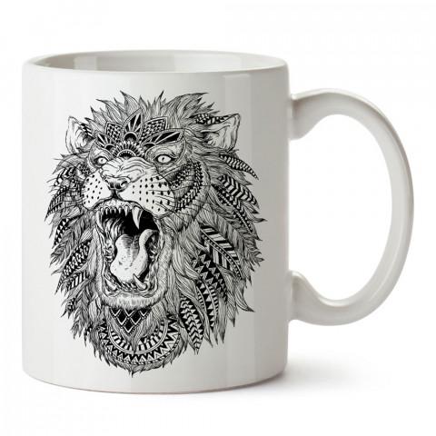 Abstract Lion aslan tasarım baskılı porselen kupa bardak (mug). Presstish marka resimli hediyelik kupa bardak modeli. Tasarım kahve kupası. Baskılı mug.