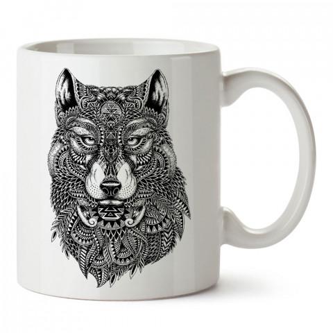 Abstract Wolf kurt tasarım baskılı porselen kupa bardak (mug). Presstish marka resimli hediyelik kupa bardak modeli. Tasarım kahve kupası. Baskılı mug.