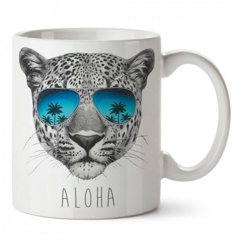 Aloha leopar tasarım baskılı porselen kupa bardak (mug). Presstish marka resimli hediyelik kupa bardak modeli. Tasarım kahve kupası. Baskılı mug.