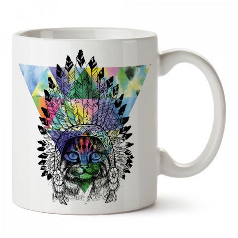 American İndian Cat kedi tasarım baskılı porselen kupa bardak (mug). Presstish marka resimli hediyelik kupa bardak modeli. Tasarım kahve kupası. Baskılı mug.