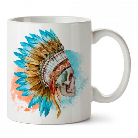 American İndian Skull kuru kafa tasarım baskılı porselen kupa bardak (mug). Presstish marka resimli hediyelik kupa bardak modeli. Tasarım kahve kupası. Baskılı mug.