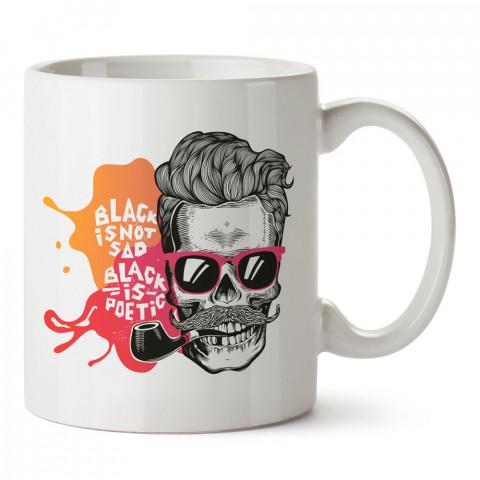 Black İs Not Sad kuru kafa tasarım baskılı porselen kupa bardak (mug). Presstish marka resimli hediyelik kupa bardak modeli. Tasarım kahve kupası. Baskılı mug.