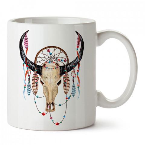 Boho Buffalo Skull bufalo tasarım baskılı porselen kupa bardak (mug). Presstish marka resimli hediyelik kupa bardak modeli. Tasarım kahve kupası. Baskılı mug.