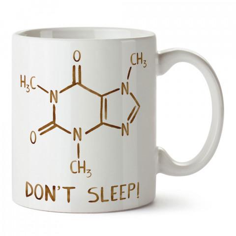 Caffeine Molecule kafein molekülü tasarım baskılı porselen kupa bardak (mug). Presstish marka resimli hediyelik kupa bardak modeli. Tasarım kahve kupası. Baskılı mug.