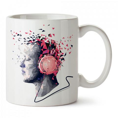 Crystal Music müzik tasarım baskılı porselen kupa bardak (mug). Presstish marka resimli hediyelik kupa bardak modeli. Tasarım kahve kupası. Baskılı mug.