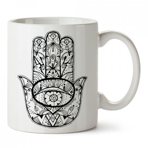 Fatıma's Hand Fatma'nın eli tasarım baskılı porselen kupa bardak (mug). Presstish marka resimli hediyelik kupa bardak modeli. Tasarım kahve kupası. Baskılı mug.