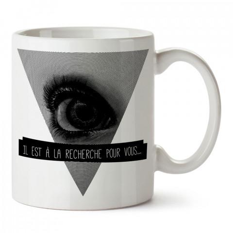 Finder fransızca yazılı tasarım baskılı porselen kupa bardak (mug). Presstish marka resimli hediyelik kupa bardak modeli. Tasarım kahve kupası. Baskılı mug.