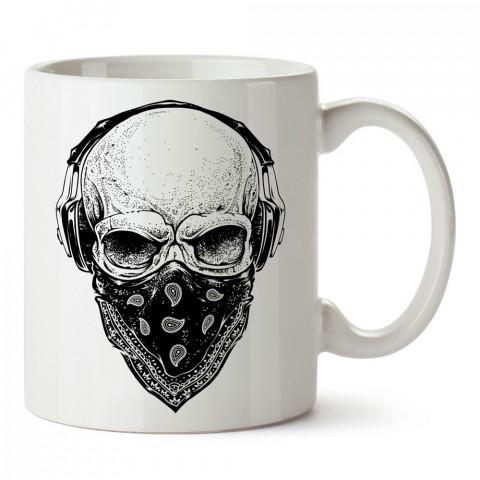 Gangsta Skull kuru kafa tasarım baskılı porselen kupa bardak (mug). Presstish marka resimli hediyelik kupa bardak modeli. Tasarım kahve kupası. Baskılı mug.