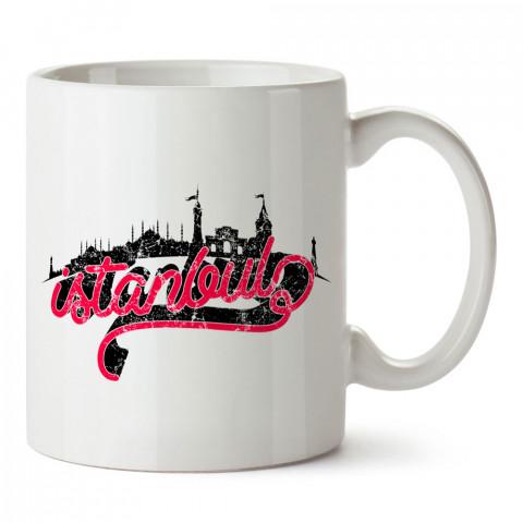 İstanbul Skyline tasarım baskılı porselen kupa bardak (mug). Presstish marka resimli hediyelik kupa bardak modeli. Tasarım kahve kupası. Baskılı mug.