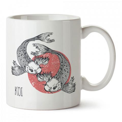 Koi Fishes koi balığı tasarım baskılı porselen kupa bardak (mug). Presstish marka resimli hediyelik kupa bardak modeli. Tasarım kahve kupası. Baskılı mug.