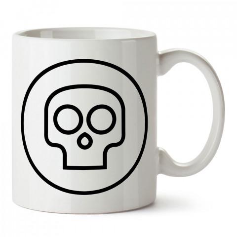 Mini Skull kuru kafa tasarım baskılı porselen kupa bardak (mug). Presstish marka resimli hediyelik kupa bardak modeli. Tasarım kahve kupası. Baskılı mug.