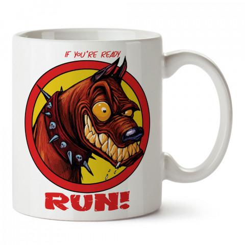 Ready To Run köpek tasarım baskılı porselen kupa bardak (mug). Presstish marka resimli hediyelik kupa bardak modeli. Tasarım kahve kupası. Baskılı mug.