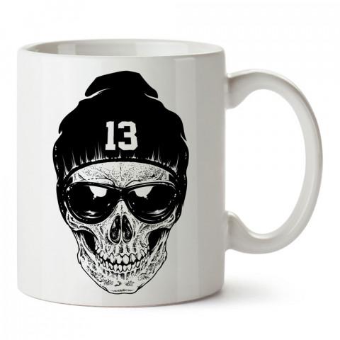 Rnb Skull kuru kafa tasarım baskılı porselen kupa bardak (mug). Presstish marka resimli hediyelik kupa bardak modeli. Tasarım kahve kupası. Baskılı mug.