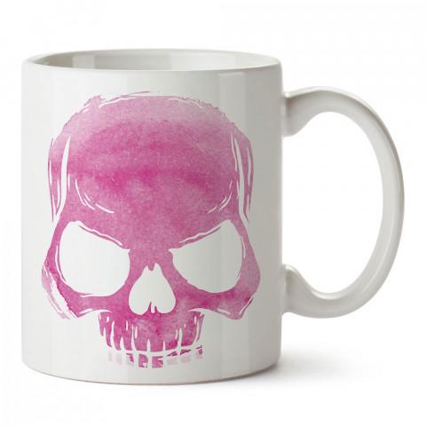 Skull Cloud (pink) pembe kuru kafa tasarım baskılı porselen kupa bardak (mug). Presstish marka resimli hediyelik kupa bardak modeli. Tasarım kahve kupası. Baskılı mug.