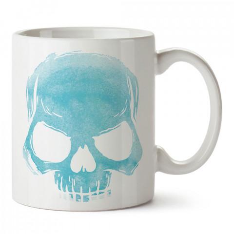 Skull Cloud (turquoise) turkuaz kuru kafa tasarım baskılı porselen kupa bardak (mug). Presstish marka resimli hediyelik kupa bardak modeli. Tasarım kahve kupası. Baskılı mug.