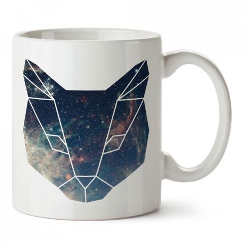 Space Cat uzay desenli kedi tasarım baskılı porselen kupa bardak (mug). Presstish marka resimli hediyelik kupa bardak modeli. Tasarım kahve kupası. Baskılı mug.