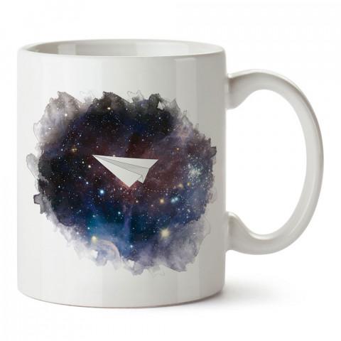Space Plane uzay uçak tasarım baskılı porselen kupa bardak (mug). Presstish marka resimli hediyelik kupa bardak modeli. Tasarım kahve kupası. Baskılı mug.