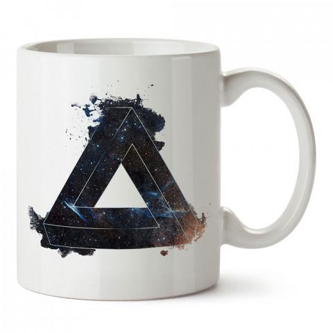 Space Triangle üçgen tasarım baskılı porselen kupa bardak (mug). Presstish marka resimli hediyelik kupa bardak modeli. Tasarım kahve kupası. Baskılı mug.