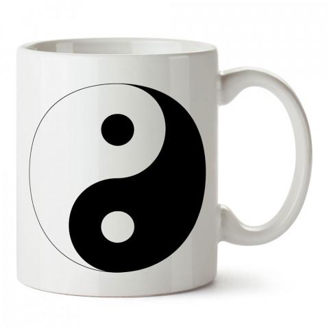 Ying Yang denge işareti baskılı tasarım porselen kupa bardak (mug). Presstish marka resimli hediyelik kupa bardak modeli. Tasarım kahve kupası. Baskılı mug.