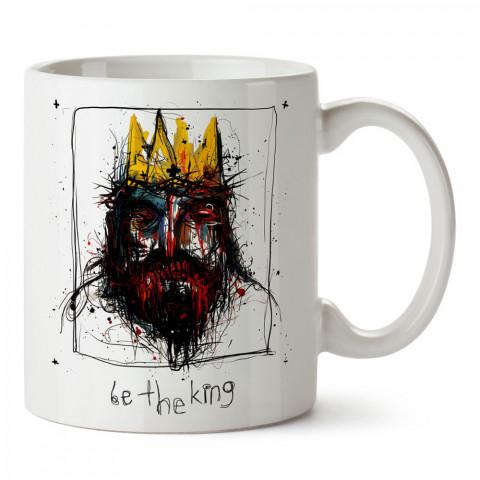 Be The King kral baskılı tasarım porselen kupa bardak (mug). Presstish marka resimli hediyelik kupa bardak modeli. Tasarım kahve kupası. Baskılı mug.