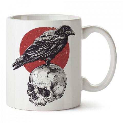 Crown Nest karga kuru kafa baskılı tasarım porselen kupa bardak (mug). Presstish marka resimli hediyelik kupa bardak modeli. Tasarım kahve kupası. Baskılı mug.