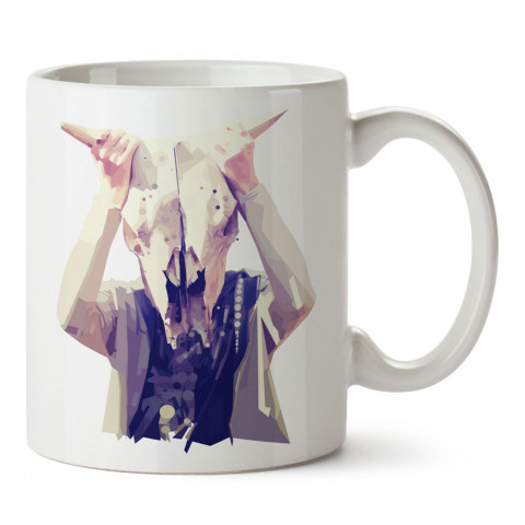 Nondiagnostic maske baskılı tasarım porselen kupa bardak (mug). Presstish marka resimli hediyelik kupa bardak modeli. Tasarım kahve kupası. Baskılı mug.