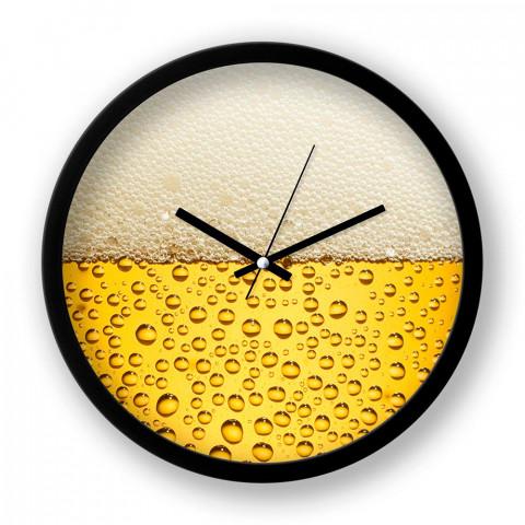 Beer Time resimli duvar saati. Presstish tasarım baskılı duvar saati. Siyah çerçeveli dekoratif duvar saati. En güzel duvar saatleri. Hediyelik şık duvar saati.