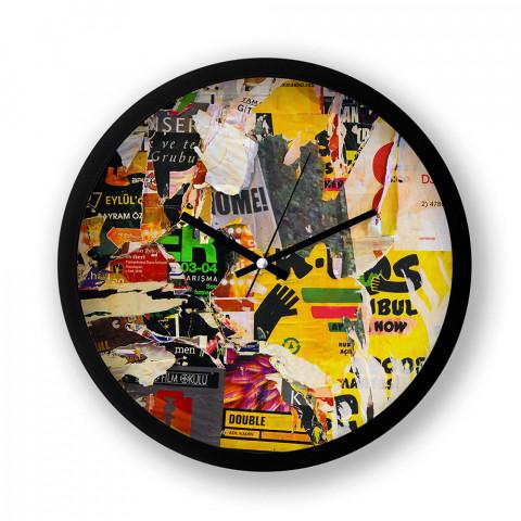 Wall Posters resimli duvar saati. Presstish tasarım baskılı duvar saati. Siyah çerçeveli dekoratif duvar saati. En güzel duvar saatleri. Hediyelik şık duvar saati.