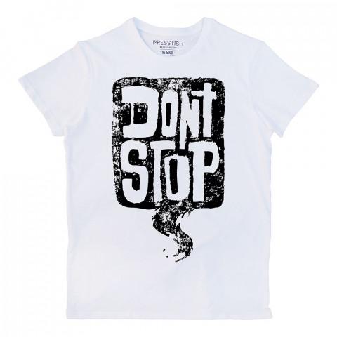 Don't Stop baskılı tasarım tişört. %100 pamuklu baskılı tişört. Presstish organik erkek tasarım baskılı tişört çeşitleri. Hediyelik tasarım tshirt. Tişört baskı.