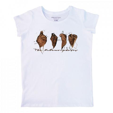 The Metamorphosis baskılı tasarım tişört. %100 pamuklu baskılı bayan tişört. Presstish tasarım baskılı tişört çeşitleri. Hediyelik kadın tişört. Tişört baskı.