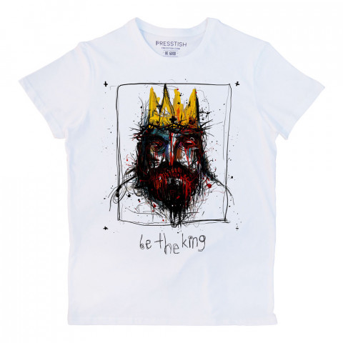 Be The King baskılı tasarım tişört. %100 pamuklu baskılı tişört. Presstish organik erkek tasarım baskılı tişört çeşitleri. Hediyelik tasarım tshirt. Tişört baskı.