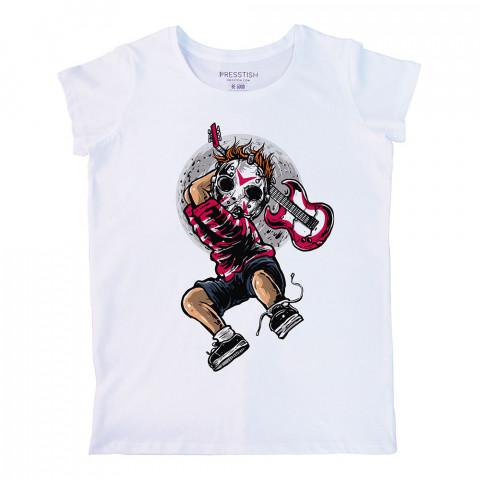 Jason Guitar Killer baskılı tasarım tişört. %100 pamuklu baskılı bayan tişört. Presstish tasarım baskılı tişört çeşitleri. Hediyelik kadın tişört. Tişört baskı.